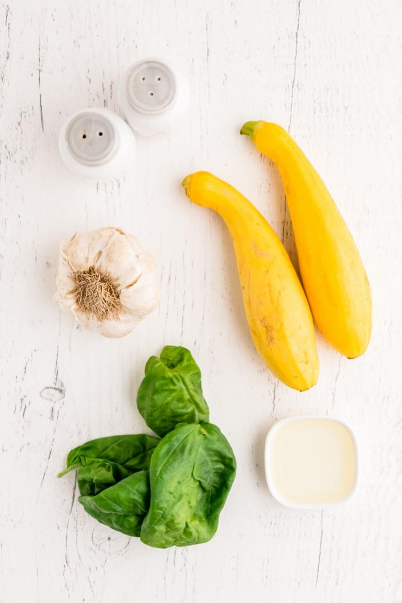 ingredients displayed for making smothered yellow squash
