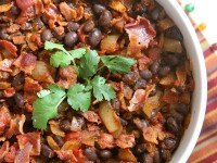 Spicy Black Beans with Onion and Bacon