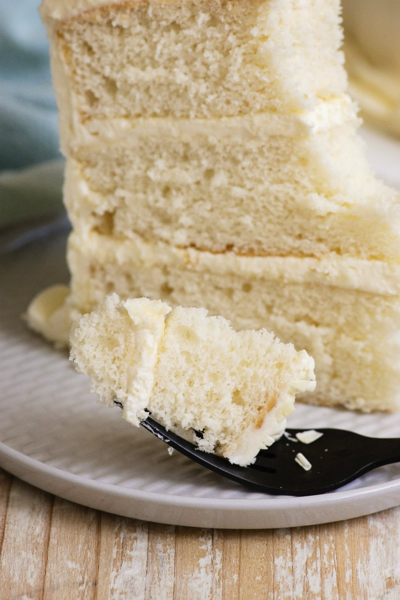 bite of White Wedding Cake on a fork