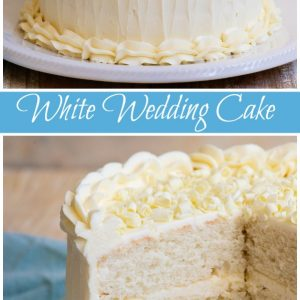 Pinterest collage for white wedding cake
