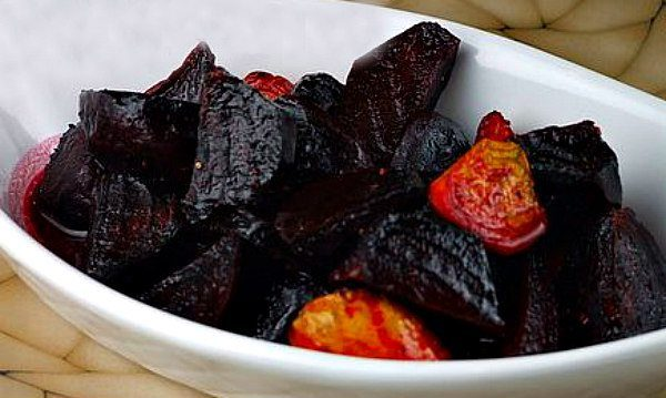warm roasted beets tossed in a balsamic and citrus dressing