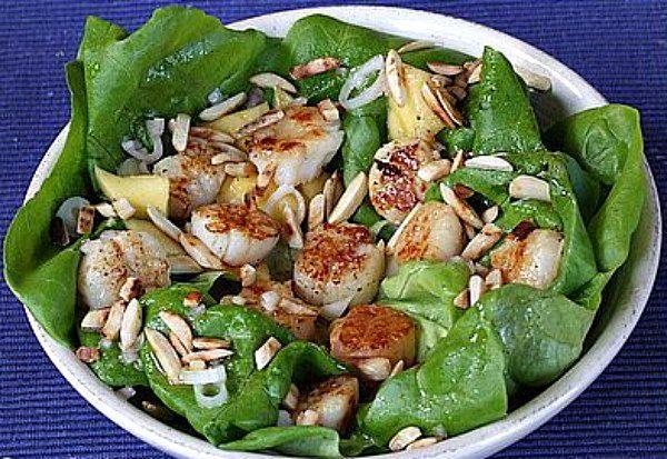 Sea Scallop Salad tossed with citrus vinaigrette