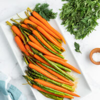 asparagus and carrots on serving platter