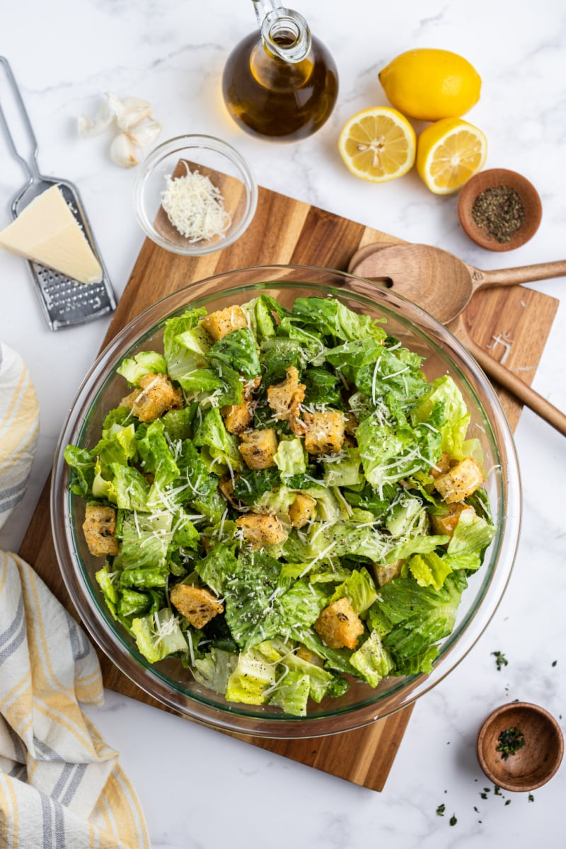 caesar salad with homemade sourdough croutons in a bowl