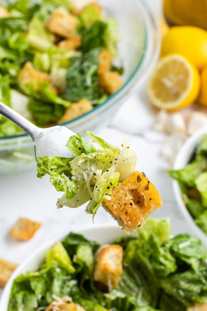forkful of caesar salad