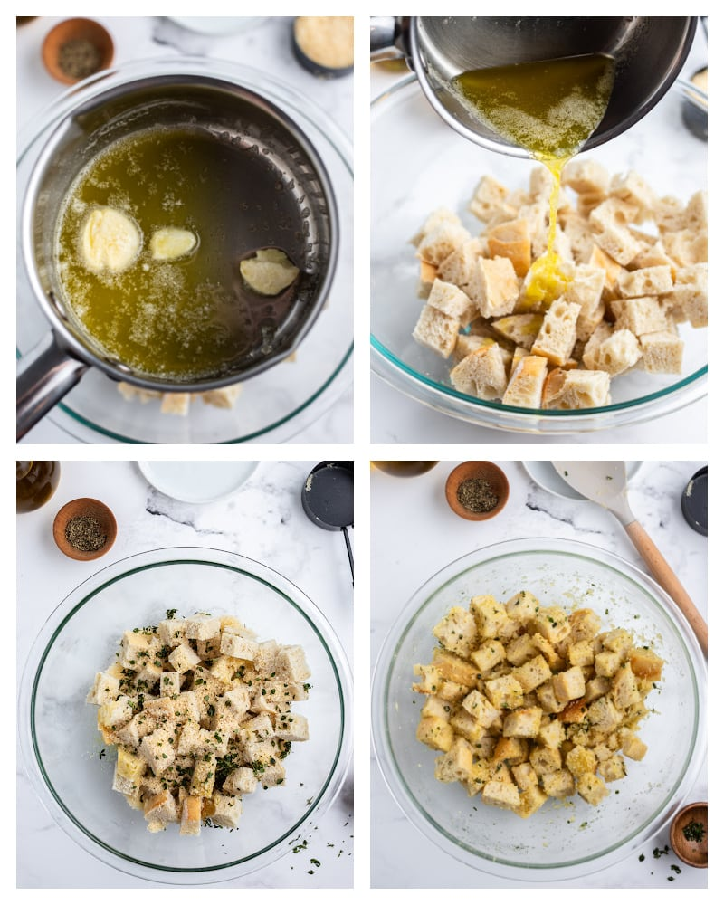 four photos showing pan with melted butter, butter poured on croutons and spices