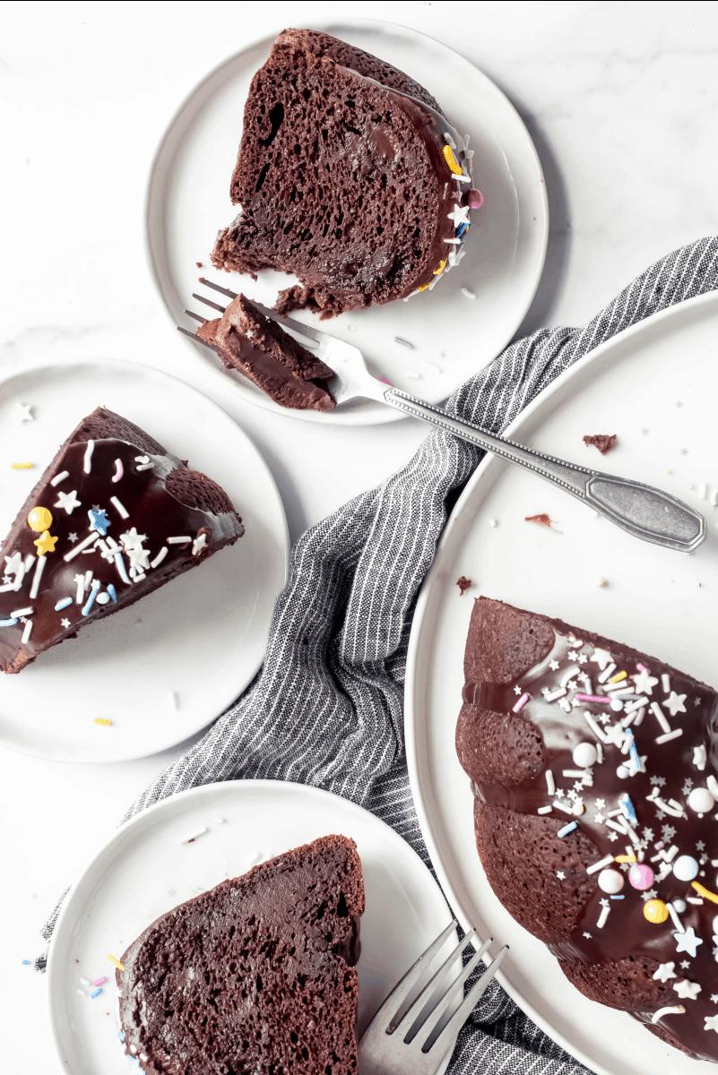 eating chocolate pudding fudge cake