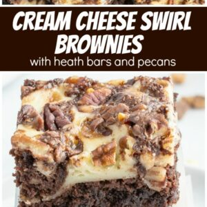 pinterest collage image for cream cheese brownies