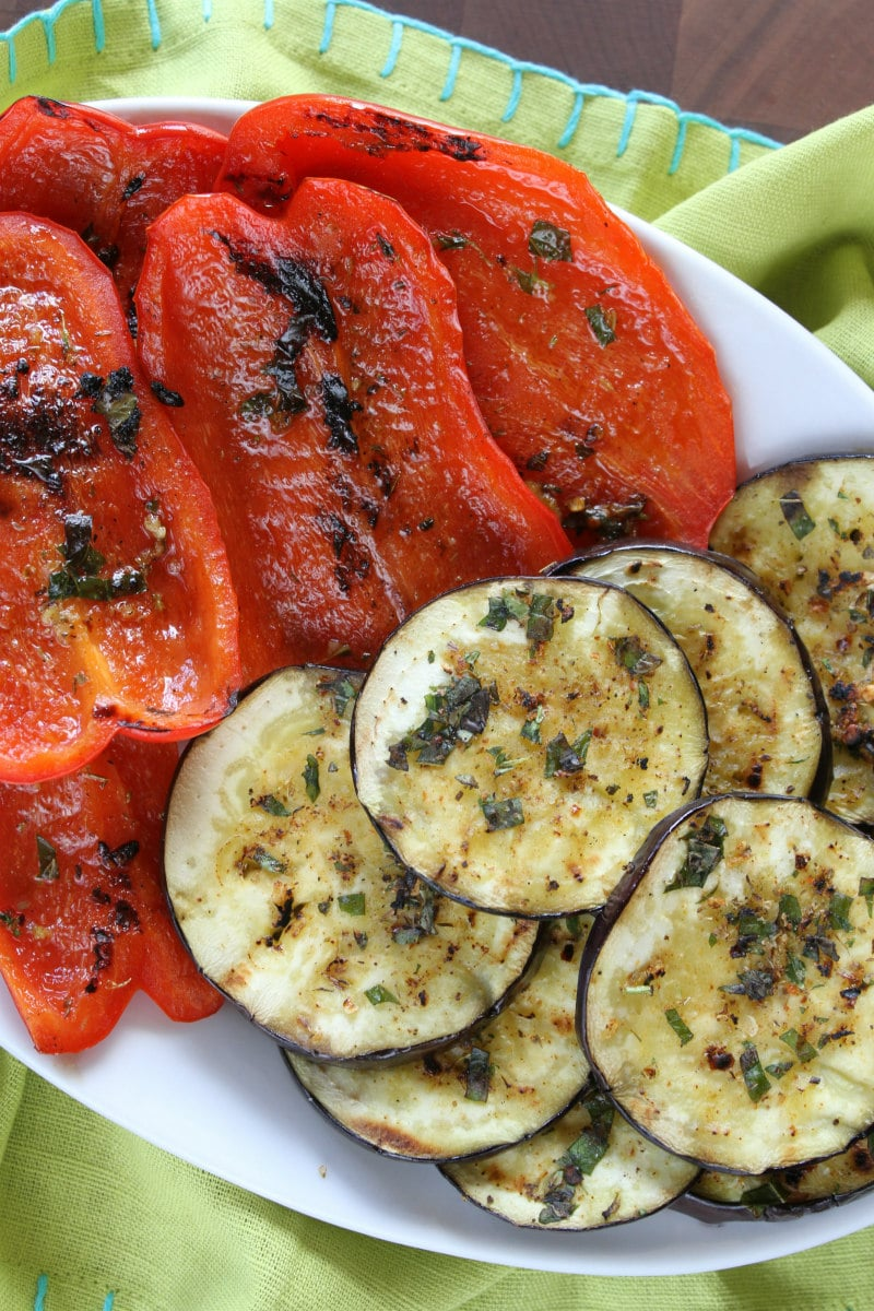 Grilled Aubergine and Peppers