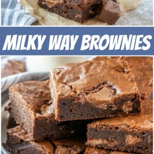 pinterest collage image for milky way brownies