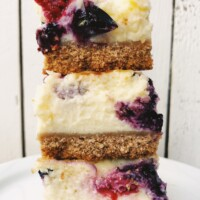 stack of three red, white and blue cheesecake bars
