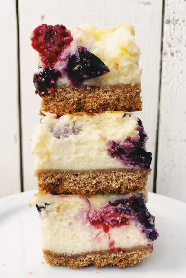 Red White and Blueberry Cheesecake Bars stacked