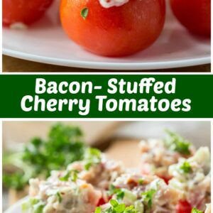 pinterest collage image for bacon stuffed cherry tomatoes