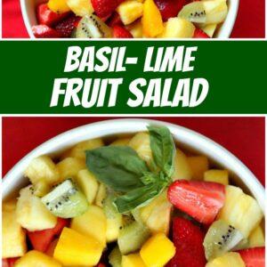 pinterest collage image for basil lime fruit salad