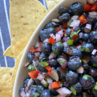 blueberry salsa in a white bowl with tortillas chips on the side. blue and white striped napkin underneath