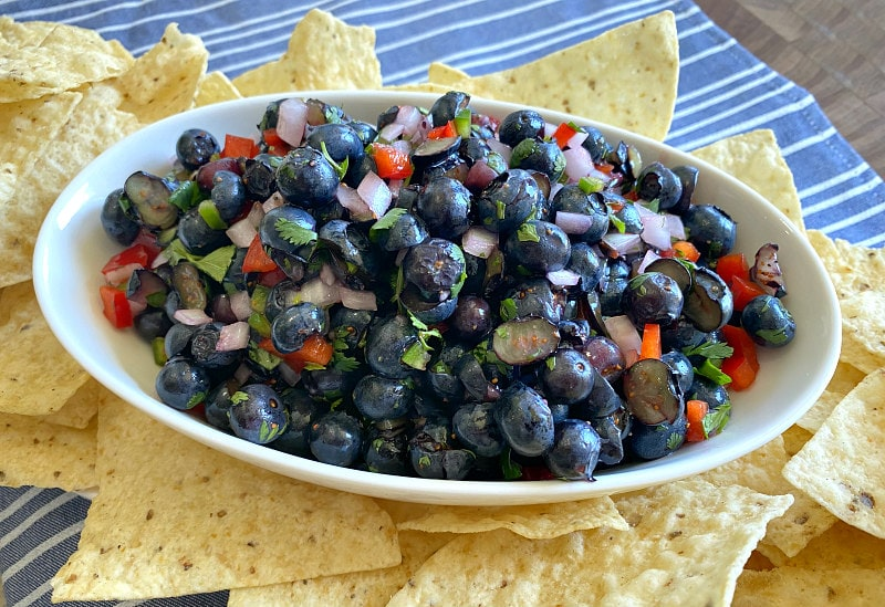 blueberry salsa in a white bowl surrounded by tortilla chips