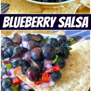 pinterest collage image for blueberry salsa