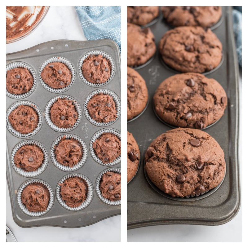 chocolate muffin batter in muffin pan and then baked brownie muffins