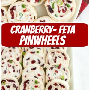 pinterest collage image for cranberry feta pinwheels