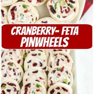 pinterest collage image for cranberry feta pinwheels
