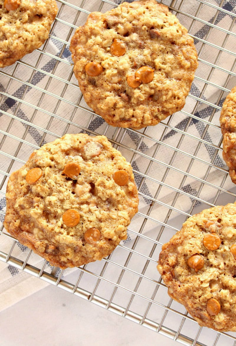 loaded oatmeal cookies on a cooling rack