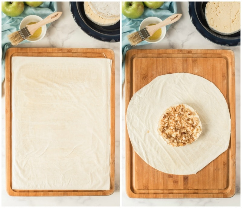 phyllo sheets and brie in phyllo