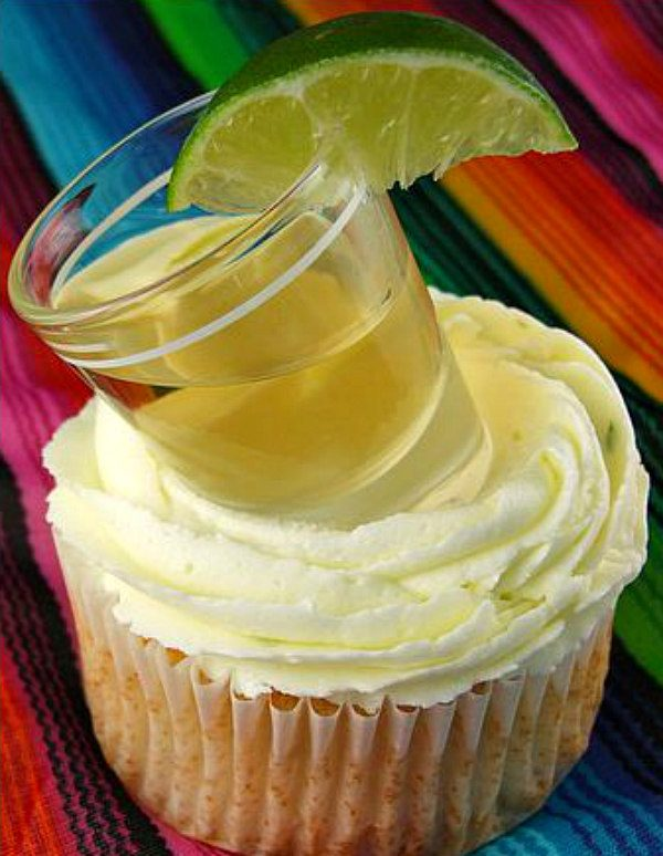 Margarita Cupcakes garnished with a Tequila Shot