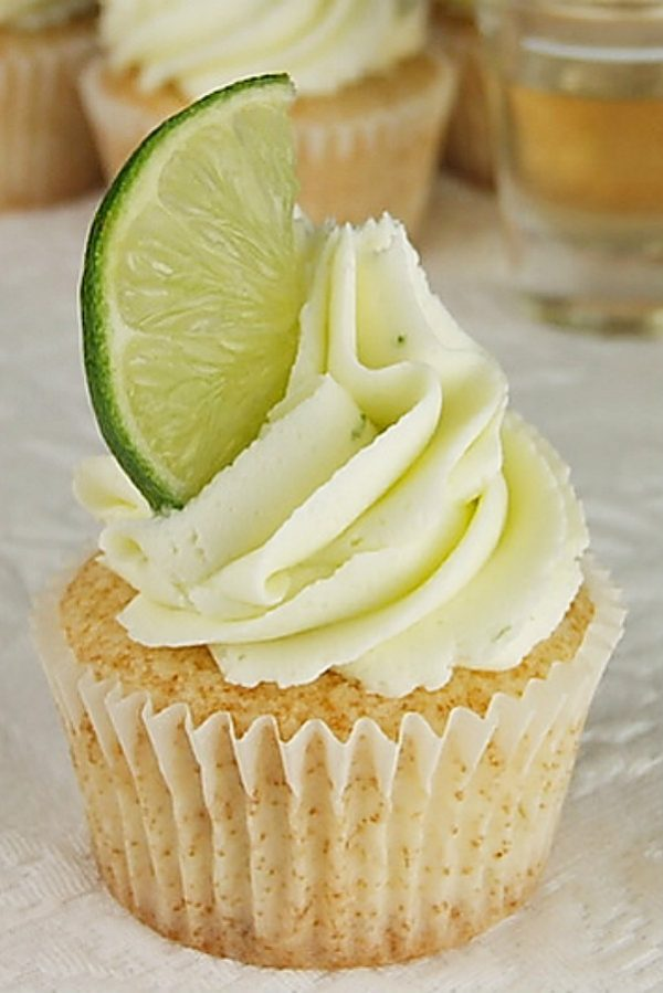 Margarita Cupcakes garnished with a lime wedge