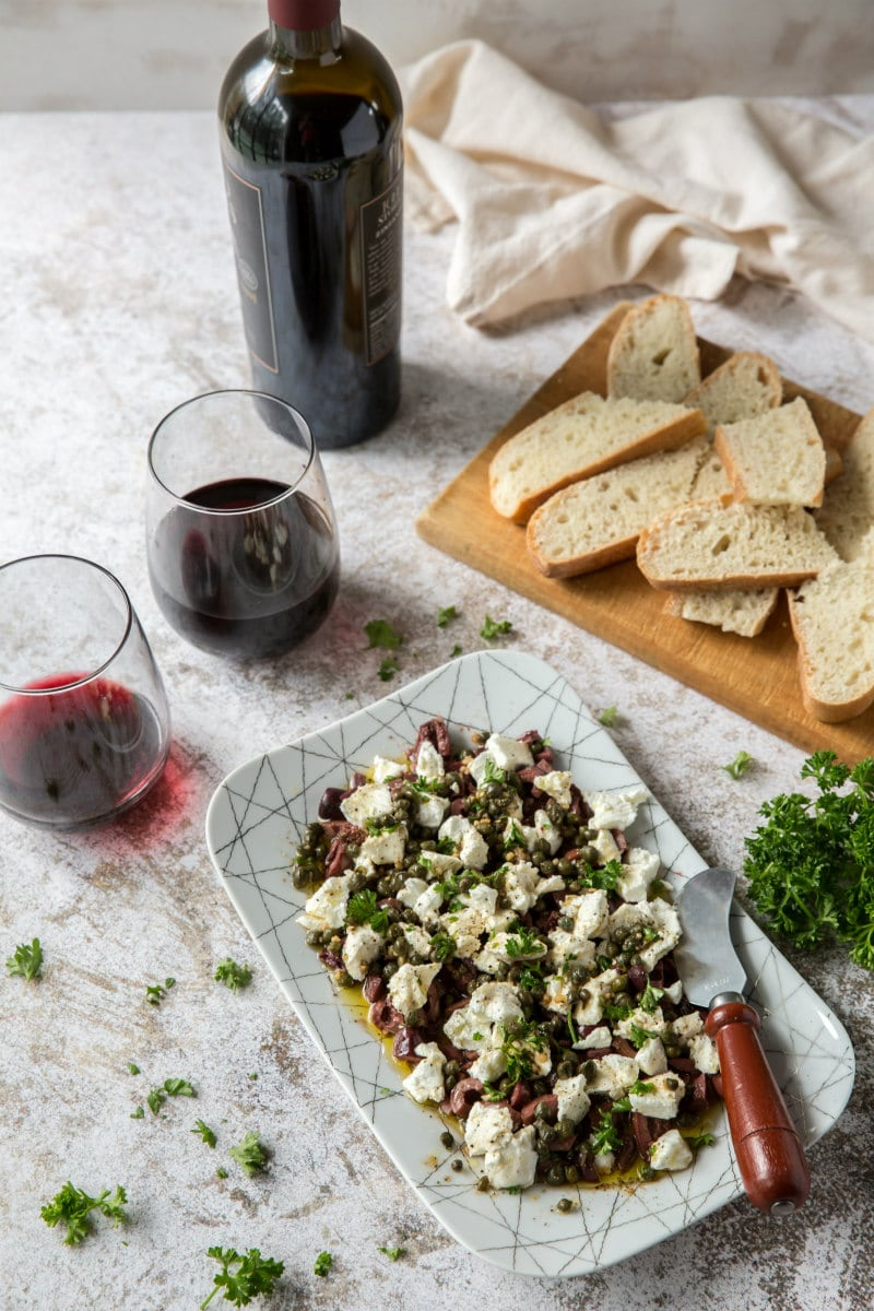 wine and appetizer display