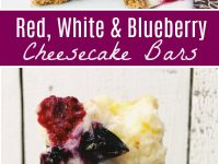 pinterest collage image for red white and blueberry cheesecake bars