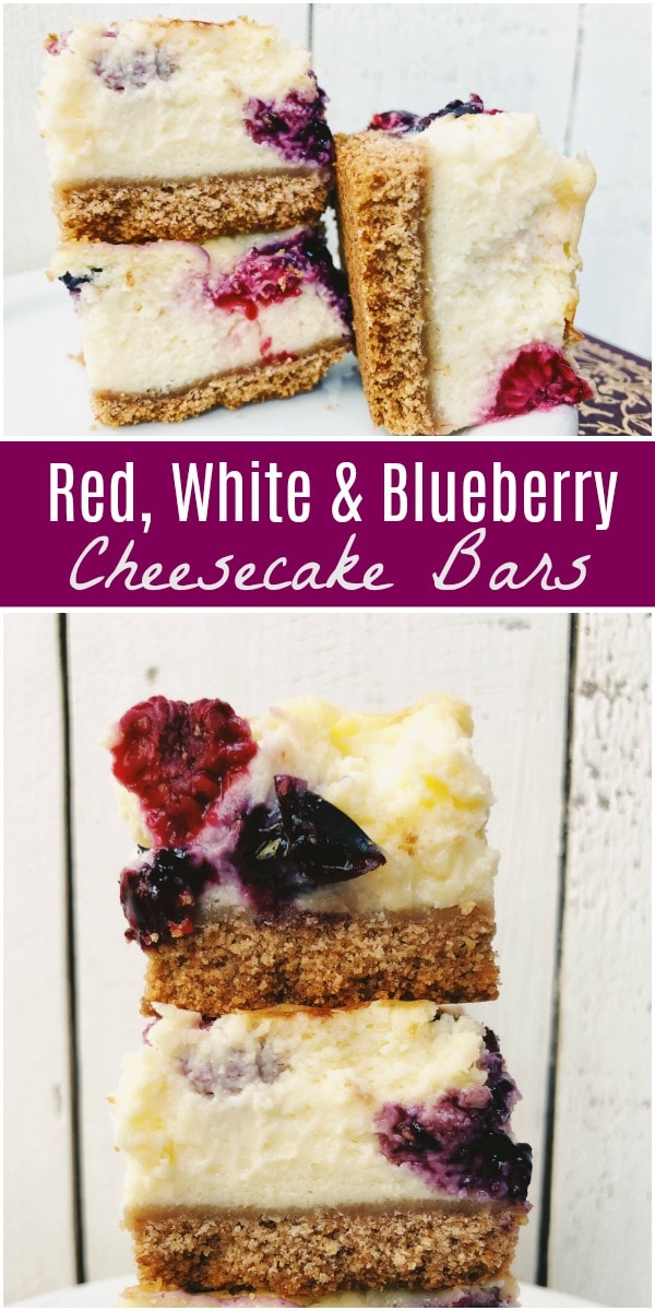 Red White and Blueberry Cheesecake Bars recipe from RecipeGirl.com #cheesecake #bars #redwhiteandblue #weightwatchers #recipe #RecipeGirl