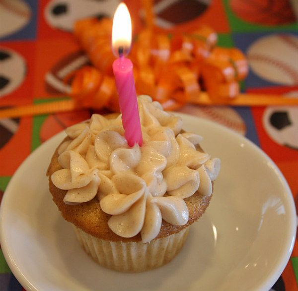 Candle on Snickerdoodle Cupcakes