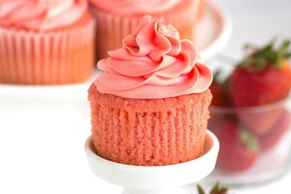 Pink Strawberry Cupcakes unwrapped