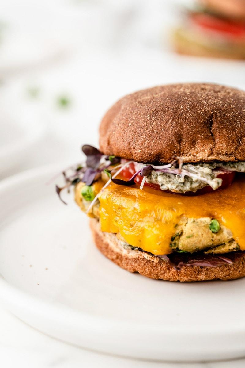 close up of side of veggie burger