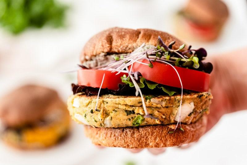 hand holding veggie burger