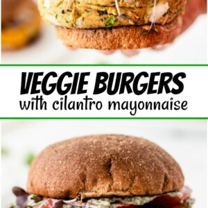 pinterest collage image for veggie burgers