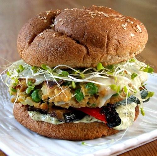 Veggie burger on a white plate