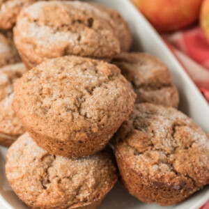 apple butter muffins on a white serving platter