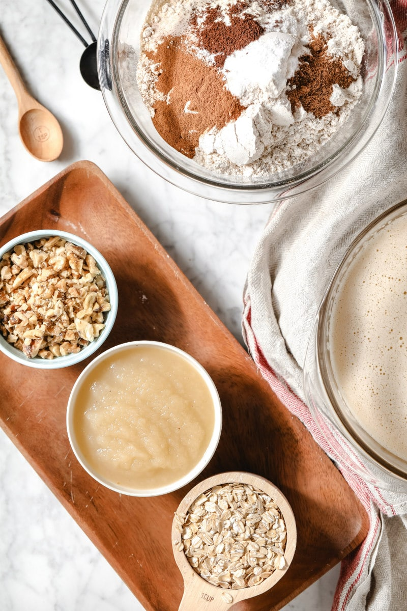 ingredients for applesauce oatmeal bread