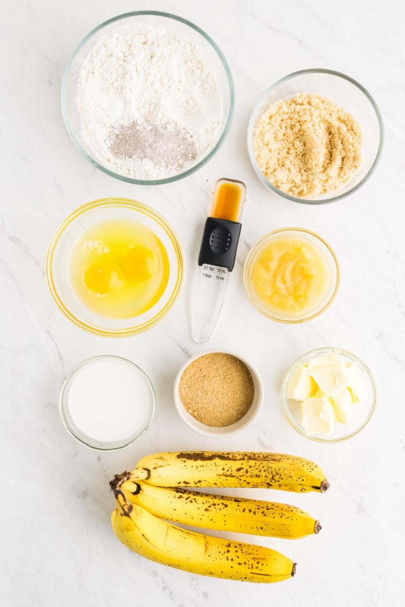 ingredients displayed for banana bran muffins
