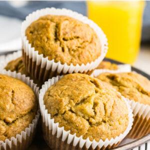 pinterest image for banana bran muffins