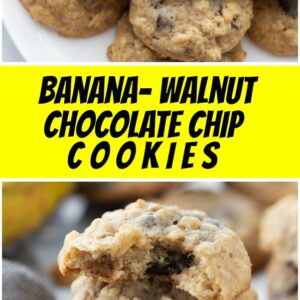 pinterest collage image for banana walnut chocolate chip cookies
