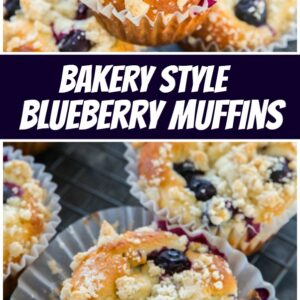 pinterest collage image for bakery style blueberry muffins