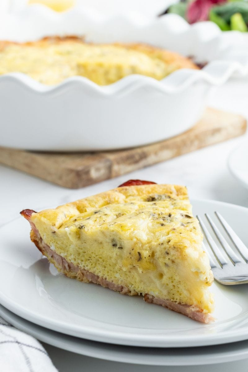 slice of quiche on a white plate