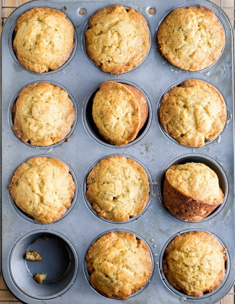 Brown Sugar Banana Muffins in a muffin pan