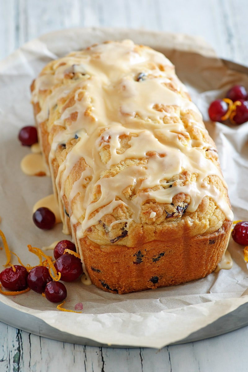 Loaf of Cranberry Orange Bread with Grand Marnier Glaze