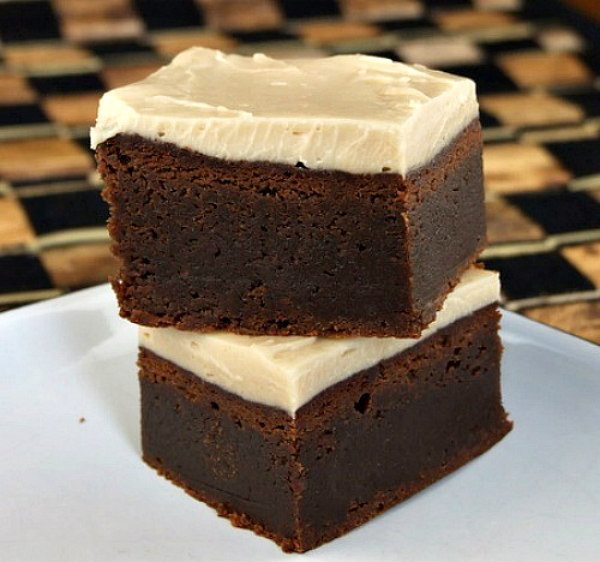 Fudgy Kahlua Brownies with Browned Butter Kahlua Icing