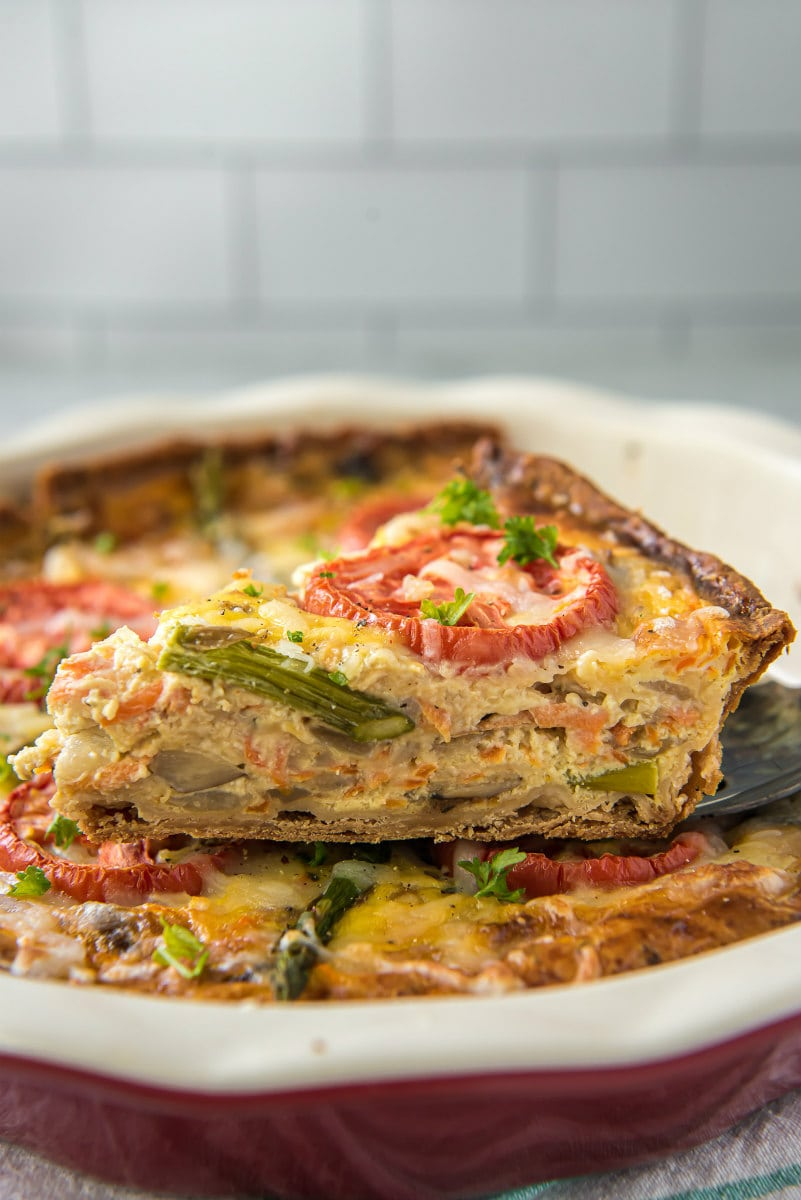 slicing garden vegetable quiche