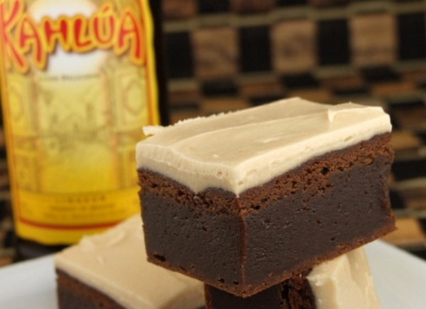 Kahlua Brownies with a bottle of Kahlua