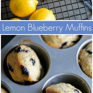 pinterest collage image for lemon blueberry muffins